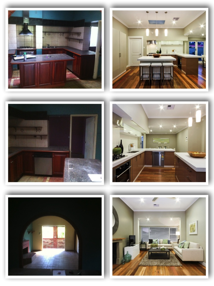 Before and after kitchen/living