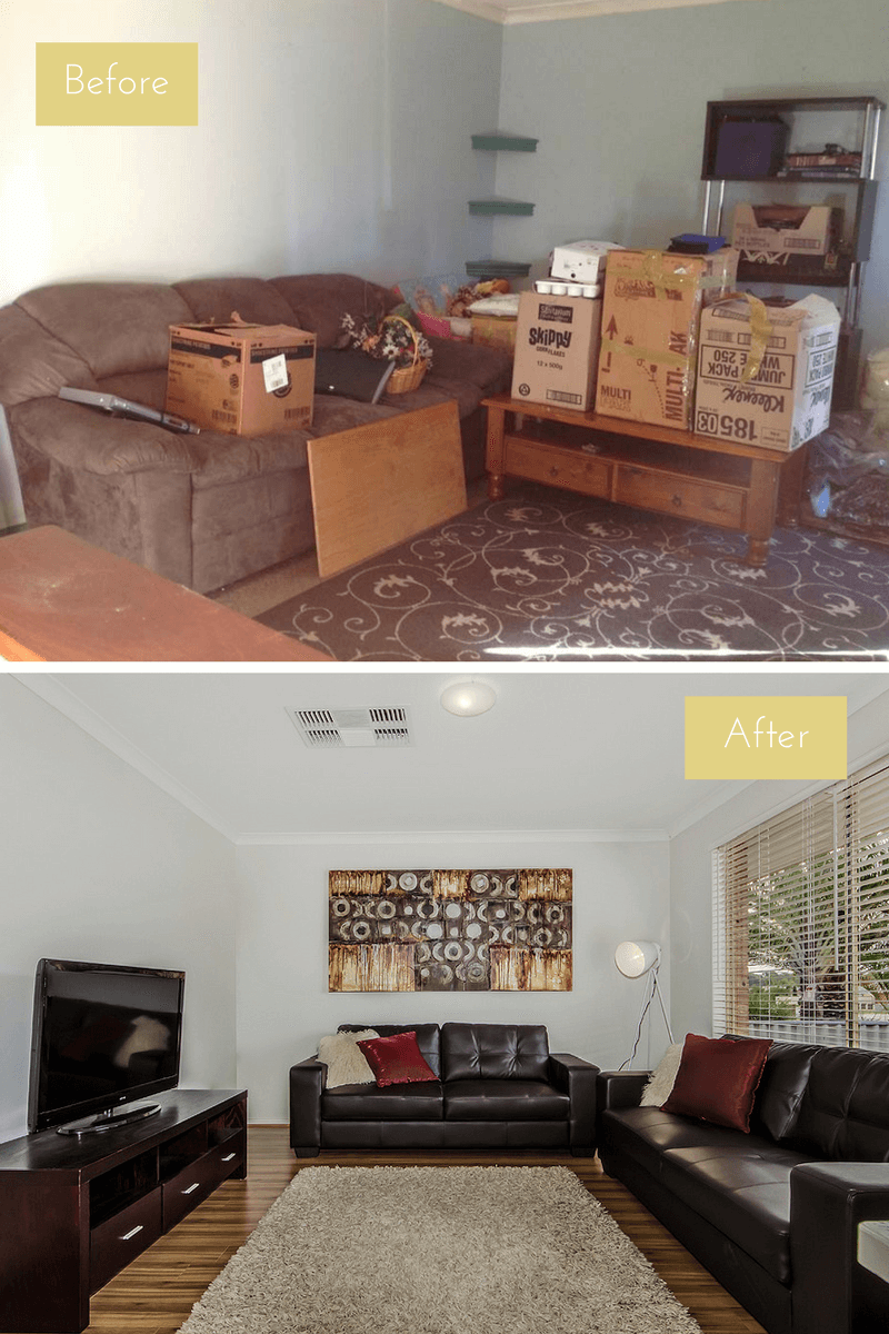 Before and after renovation, renovated lounge, distressed property